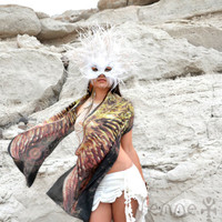 PHOENIX • Bird Wings Scarf • Black and Gold Mandala Bird Wing Silk Scarf • Beautiful Handmade Feather Festival Shawl • Chic Gift For Her