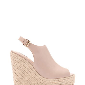 Faux Leather Slingback Wedges