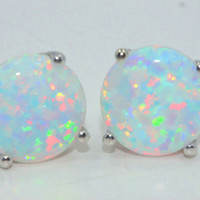 3 Carat Opal Stud Earrings White Gold Quality