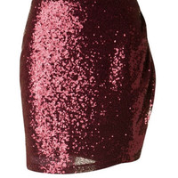 Sparkling Sequins Skirt - Burgundy