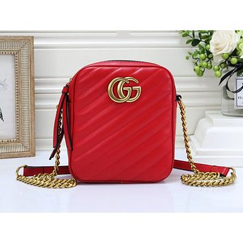 Samplefine2 GUCCI hot selling lady casual shoulder bag fashionable pure color zigzag line shopping bag #5