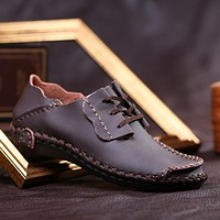 Genuine Leather Men Shoes Boat Shoes for Men New Men's Loafers Shoes Casual Fashion Men's Flats