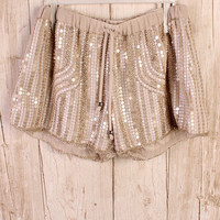 Golden Glam Sequin Shorts