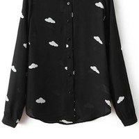 Cloud Button-up Chiffon Shirt
