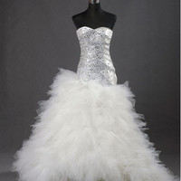 Custom make  Customize  Tulle Over Satin Ball Gown Sweep/ Brush Train Tiered Wedding Dress