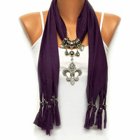 CHRISTMAS SALE Fleur De Lis jewelry scarf, purple solid color scarf with big rhinestone pendant gift or for you