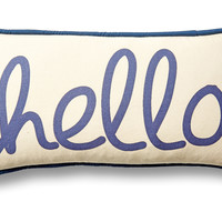 """French Laundry Home, """"Hello"""" 10x20 Cotton Pillow, Blue, Decorative Pillows"""