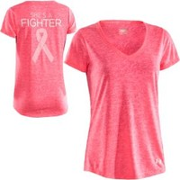 Under Armour Women's Power in Pink Achieve Fighter V-Neck T-Shirt