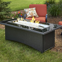Black Glass Fire Pit Table With Wicker Base