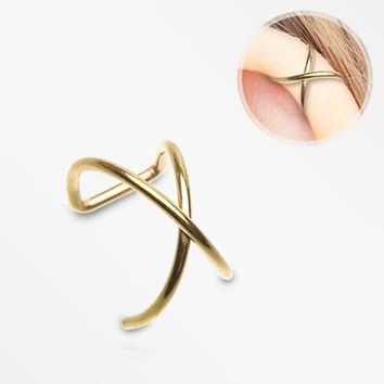 Golden Simple Cross Loop Steel Non-Piercing Cartilage Helix Ear Clip
