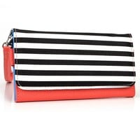 Apple iPhone 1, 2, 3, 3GS, 4, 4S, 5, 5S, 6 (All Generations) Wallet Wristlet Clutch with Coin Money Zipper Pocket and Three ID Credit Card Compartments. Includes one Detachable Wrist Strap + NuVur ™ Keychain