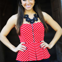 Forever Young Peplum Top: Red   Hope's