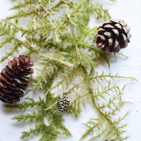 3D Gold Pinecone Charm Necklace