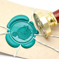 Old Retro Bicycle Gold Plated Wax Seal Stamp x 1