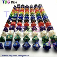 Top Best Promotion 7pc set dice set Multi-Sided Dice with marble effect DND and RPG dice game For Parties Toy Bauble Gift
