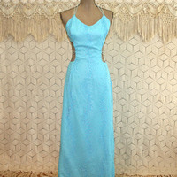 Vintage Prom Dress Turquoise Blue Formal Sexy Disco Lace Up Maxi Cut Out Beaded Long Blue Dress Small Vintage Clothing Womens Clothing
