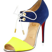 Christian Louboutin Mayerling Bicolor Fluorescent Red Sole Sandal