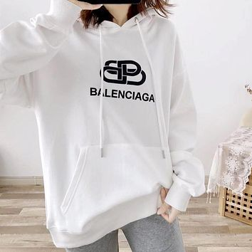 Balenciaga 2019 new wild loose hooded sweater white