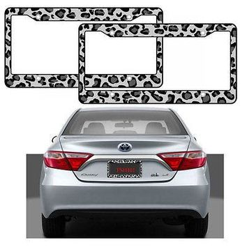 Licensed Official 2pcs Gray Snow Leopard Print Car Truck Suv Van License Plate Frames Made in USA