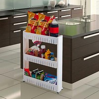 Three Tier Slim Slide Out Pantry on Rollers - Only 5 inches wide