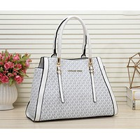 Samplefine2 Michael Kors MK Fashion Women Shopping Bag Leather Handbag Tote Shoulder Bag Satchel White