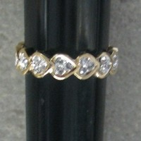 R.S. Coventant 1564 CZ Crystal Gold Heart Band Ring Size 7