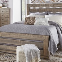 Willow Casual Complete King Slat Bed Weathered Gray