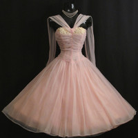 Vintage 1950's 50s Bombshell Baby PINK Ruched Chiffon Organza Applique Rhinestones Daisies Party Prom Wedding Dress Gown