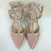 VALENTINO Fashion Rivet Pointed Toe Heels Shoes