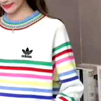 """""""Adidas"""" Letter and Logo Print Long Sleeve Sweater I-MLDWX"""