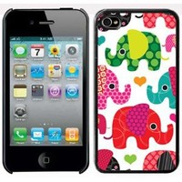 Apple iPhone 4 4S 4G Black 4B1 Hard Back Case Cover Colorful Elephants Hearts