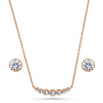 Rose Gold Flashed Sterling Silver Round CZ Bar Bubble Graduated Solitaire Necklace and Earrings Set 2.04 CTWBe the first to write a reviewSKU# vs537-02
