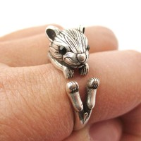 Realistic Hamster Gerbil Shaped Animal Wrap Ring in Silver | US Size 6 to 9