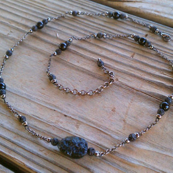 meteorite, lava & glass necklace on gunmetal toned chain