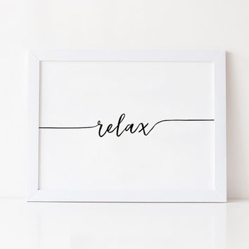 RELAX POSTER,Office Wall Art,Good Vibes Only,Positive Vibes Only,Meditation,Zen,Yoga,Workout,Fitness,Relax Office Poster,Typography Print