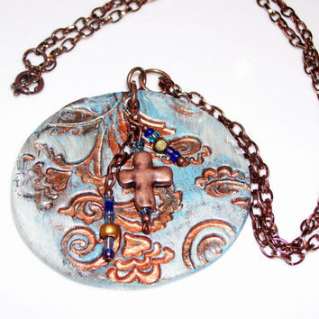 Aroma Therapy Personal Diffuser Necklace Copper Necklace With Blue Floral Relief Design Copper Cross and Bead Tassels Essential Oil Diffuser
