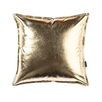 OJIA Deluxe Home Decorative Postmodern Art Metallic Soft PU Leather Throw Pillow Cover Cushion Case (18 x 18 Inch, Gold)