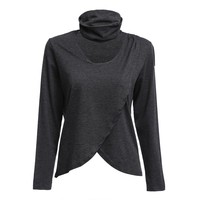 Fashion Halter Long Sleeve Asymmetrical Pure Color Blouse for Ladies