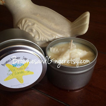 Beach Wedding favors Starfish Wishes 4oz soy candle favor tins with personalized labels