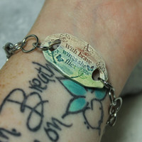 Mantra bracelet With brave wings she flies Quote purple blue green pottery jewelry