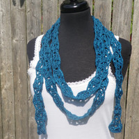 Sapphire blue crochet flower chain scarf, fashion scarf