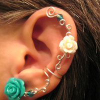 "Non Pierced Cartilage Cuff  ""Roses are Multi-Colored"" Ear Conch Cuff Color Choices Wedding Prom Quinceanera"