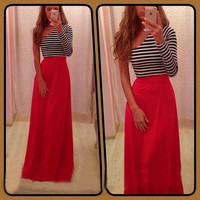 Striped One-Shoulder Maxi Dress