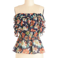ModCloth Strapless On the Brink of Blooming Top
