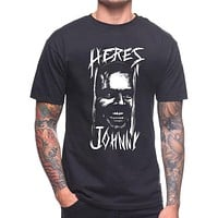 Here's Johnny T Shirt the Shining Horror Creepy Cult Film Movie Mens Tee Shirt Casual Bottoming T Shirts Tops Clothing