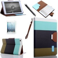 Masione™ Multicolor Case Cover Stand for 7.9 Inch Apple Ipad Mini(Magnetic Leather Case Stand,Auto Sleep/Wake Function)+ Stylus Pen + Screen Protector Film (Ipad mini case, Light ink+Black+Light blue)