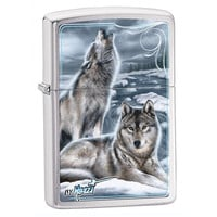 Zippo Mazzi Winter Wolves Brushed Chrome Lighter