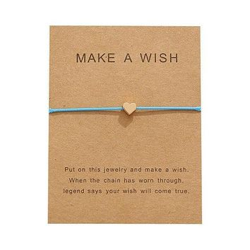 """Make A Wish"" Gold Heart Note Card Light Blue String Bracelet"