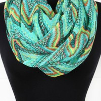 5700000593N Green Multi Zig Zag Dotted Pattern Infinity Scarf and shop Accessories at MakeMeChic.com