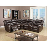Bonded Leather 3 Pc Sectional Sofa Motional Theater Recliners, Brown